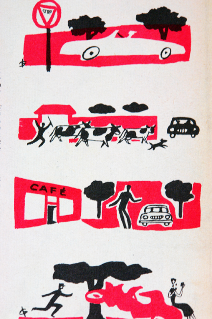 "Red and black illustrations from a vintage 1950s French ""L'Echo de la Mode"" magazine"