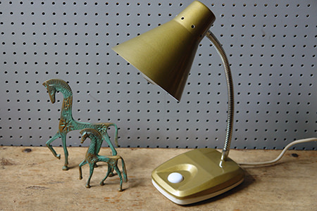 Vintage brass horses and gold goose necked desk lamp