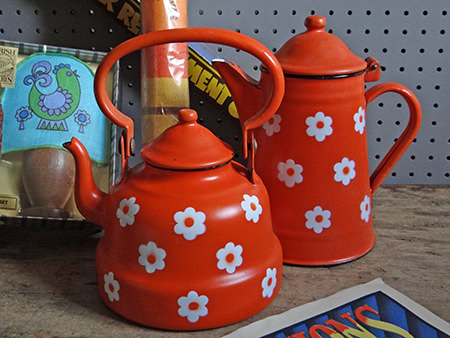 vintage orange daisy enamelware shortly to be listed in the H is for Home webshop