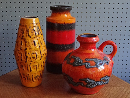 Trio of vintage West German vases