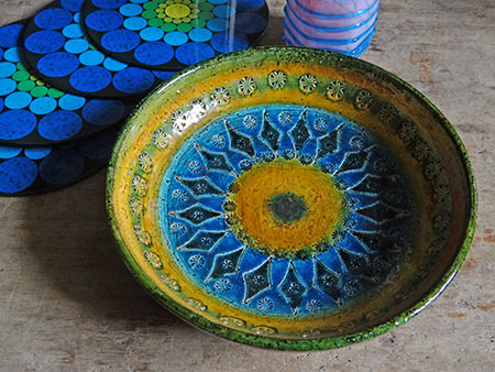 large vintage Bitossi bowl in blue, yellow and green