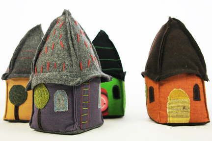 collection of fabric doorstops / bookends handmade by Sarah Nicol