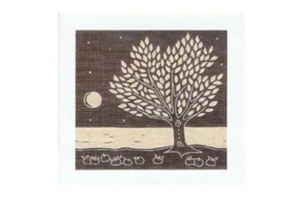 greeting card by artist Gail Kelly featuring an apple tree, taken from an original linocut hand-printed onto Irish linen