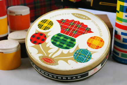 vintage Jacobs shortbread biscuit tin decorated with multicoloured stylised thistle