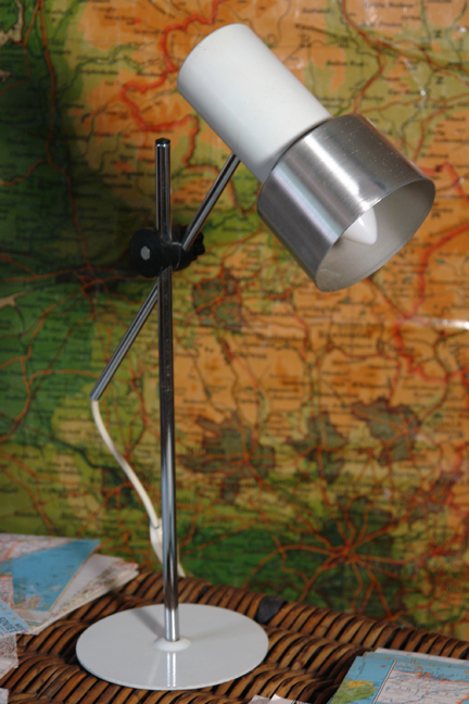 vintage brushed steel &amp; white painted desk lamp