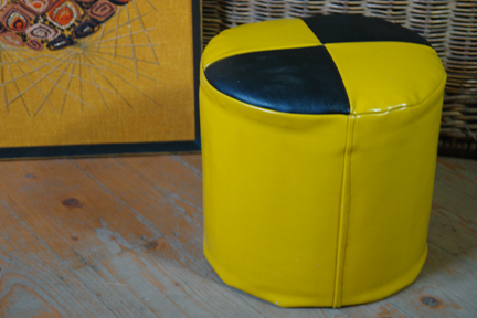 vintage yellow &amp; black vinyl covered pouf
