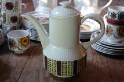 selection of vintage Kathie Winkle coffee pot