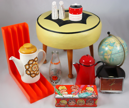 new H is for Home stock items including yellow 1950s leatherette footstool, vintage Chad Valley globe, Kirkham Pottery salt & pepper and preserve pot and other vintage items