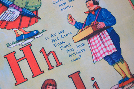 "illustration from vintage 1950s children's alphabet book showing ""H is for hot cross buns"""
