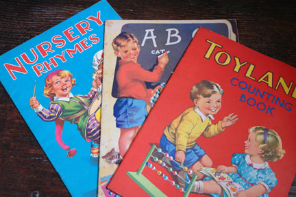 trio of vintage 1950s nursery rhymes, ABC and counting picture books