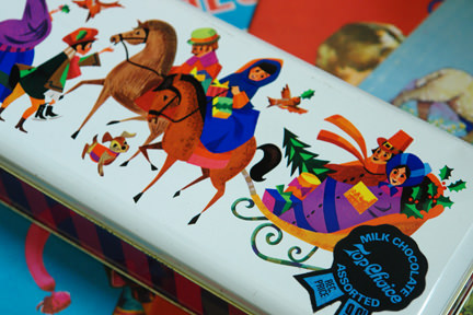 vintage Christmas chocolate biscuit tin