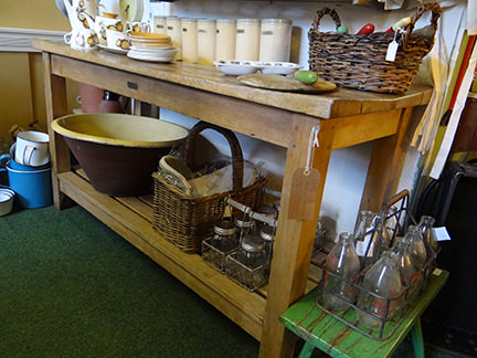 selection of vintage homewares in the H is for Home space at Picture House Antiques