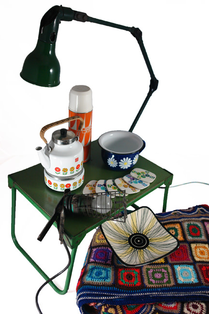 selection of vintage homewares including a large vintage industrial anglepoise lamp, crocheted blanket, West German bowl of square form, green metal table, orange & white Thermos vacuum flask, Worcesterware coasters, enamel chamber pot and Siegwerk kettle