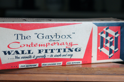 "vintage ""Gaybox"" wall fitting in its original box"