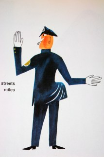 "illustration from Miroslav Sasek's vintage children's book, ""This is... New York"" showing a traffic cop"