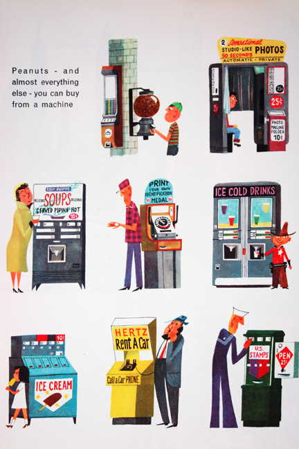"illustration from Miroslav Sasek's vintage children's book, ""This is... New York"" showing various types of vending machines"