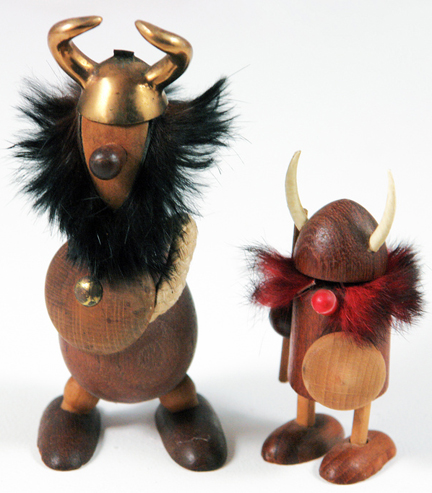 pair of Viking noggin figures