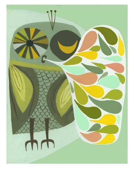 Happy owl open edition print by Matte Stephens on Etsy