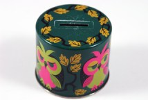 vintage tin money box with owl decoration