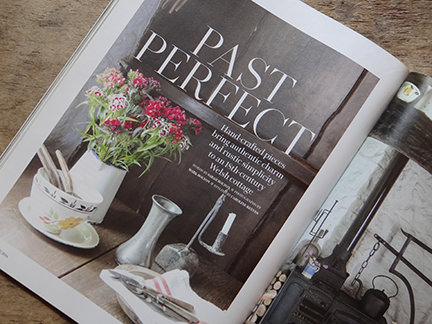 'Past Perfect' article title page from Country Living magazine June 2014