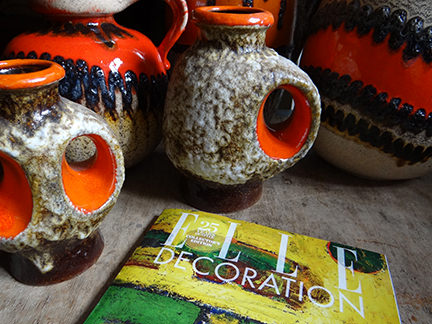 May 2014 Elle Decoration magazine with collection of fat lava pottery