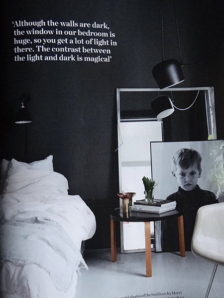 Dark painted walls in a monochromatic home