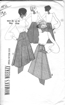 "vintage 1970 ""Womens Weekly"" paper pattern for an asymetric midi skirt and puff sleeved blouse"