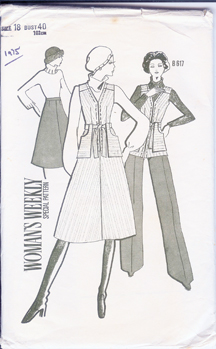 "vintage 1975 ""Women's Weekly"" paper pattern for midi skirt, long waistcoat and flared trousers"