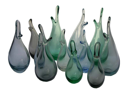 collection of vintage 'Duckling' vases designed by Per Ltken for Holmegaard