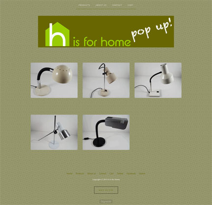 screenshot of the H is for Home pop-up shop with a selection of vintage desk lamps for sale