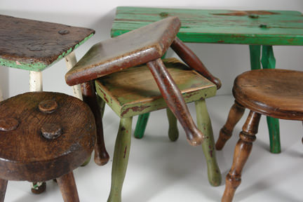selection of antique stools