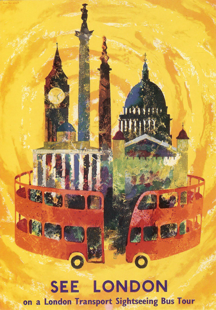 vintage 1959 London Transport postcard. &quot;Roundabout&quot; designed by Victor Galbraith