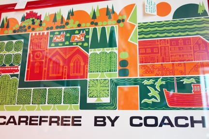 detail of original vintage 'Carefree by Coach' travel poster