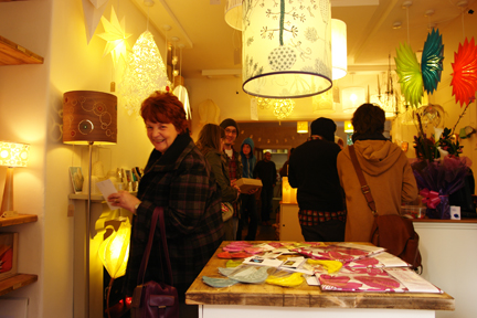 people at the 'shop-warming' of the new Radiance lighting shop in Hebden Bridge