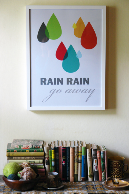 Rain rain, go away framed poster designed by Dee Dee Adams