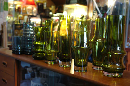 collection of green vintage Riihimaen glass vases
