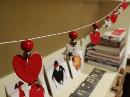 salt dough Christmas garland with red hearts and white stars