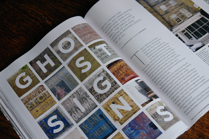 page in a magazine showing various images of vintage shop signs