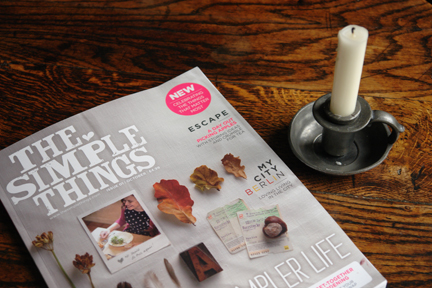 Simple Things launch issue magazine cover with small pewter candle holder