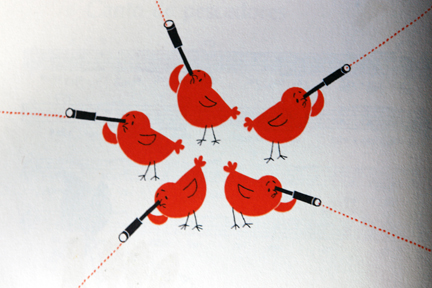 vintage illustration of identical red birds looking through telescopes