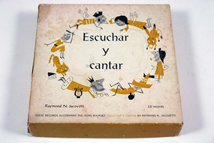 detail of cover of vintage 1950s Spanish song book & record box set