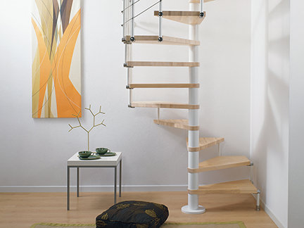 modern spiral staircase with beech treads