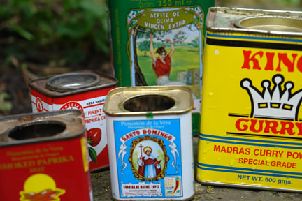 Collection of empty, used food tins