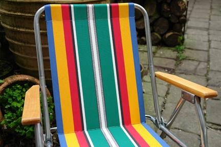 Detail of vintage striped garden chair