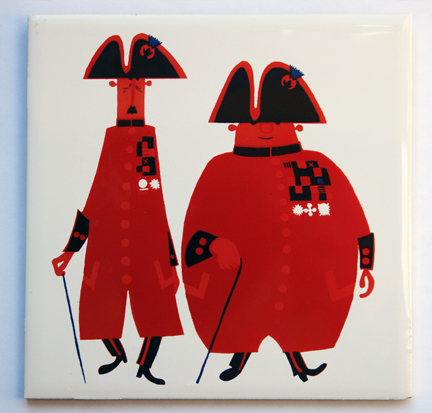 vintage &quot;Chelsea Pensioners&quot; ceramic tile designed by Kenneth Townsend