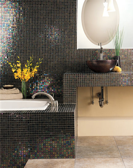 dark Design Distinctions Pearson Mosaic tiled bathroom