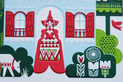 detail from a Marks &amp; Spencer Swiss biscuit collection biscuit tin designed by Sanna Annukka showing a Swiss milk maid