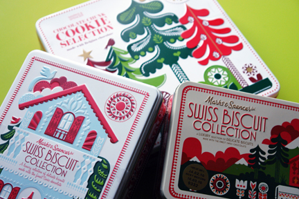 trio of Marks &amp; Spencer biscuit tins designed by Sanna Annukka