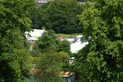 View of the Todmorden Show through the trees