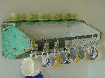 shelf made from an upcycled carpenter's toolbox
